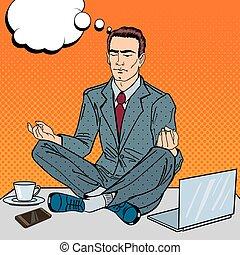multi, arte, work., oficina, meditar, ilustración, vector, tasking, taponazo, hombre de negocios, tabla