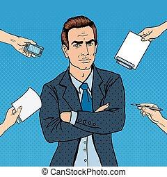multi, arte, work., oficina, taponazo, confiado, vector, tasking, ilustración, hombre de negocios