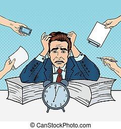 multi, arte, work., oficina, taponazo, vector, tasking, ilustración, hombre de negocios estresado
