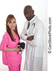 multi, atención sanitaria, trabajadores, racial, equipo
