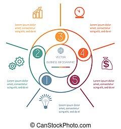 multi- barva, kroužek, infographic, pět, úřední postavení