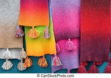 multi, bufandas, coloreado