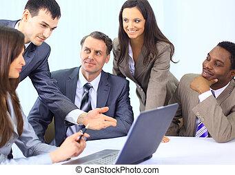 multi, business, discuter, travail, ethnique, réunion, cadres