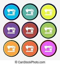multi, buttons., coloré, signe., machine coudre, vecteur, neuf, rond, icône