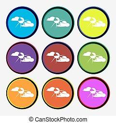 multi, buttons., coloré, soleil, signe., derrière, vecteur, neuf, rond, nuage, icône