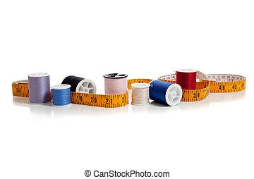 multi, cinta, coloreado, hilo, medida
