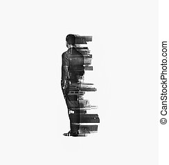 multi, city., vertical, empresa / negocio, el mirar joven, bw, exposición, hombre