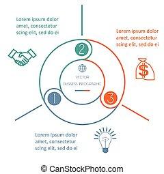 multi-coloré, anneau, infographic, trois, positions
