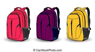 multi-coloré arrière-plan, sacs dos, blanc, ensemble, école