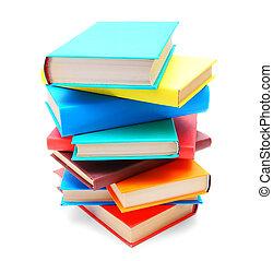 multi-coloré, books., école, .