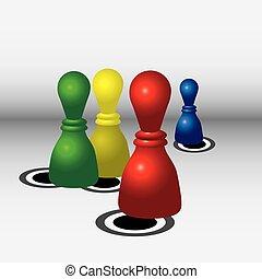 multi-coloré, chips, jouer