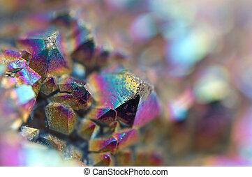multi-coloré, cristaux, macro