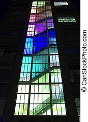 multi-coloré, escalier