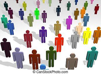 multi coloré, gens