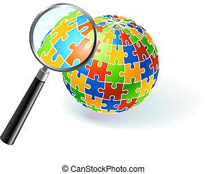 multi coloré, globe, verre, sous, magnifier