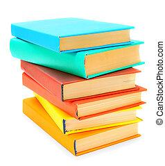 multi-coloré, grand, books., arrière-plan., tas, blanc