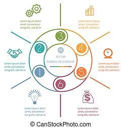 multi-coloré, infographic, six, positions, anneau