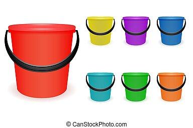 multi-coloré, ménage, ensemble, seaux, plastique