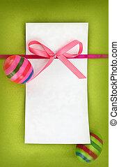 Multi, coloré, oeufs, vert, fond, Paques, carte