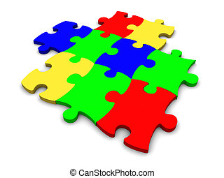 multi-coloré, puzzle, plastique, fond, blanc, morceaux, consister