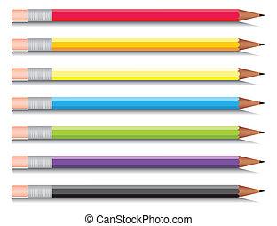 multi-coloré, sept, ensemble, crayons, colours., vecteur,...