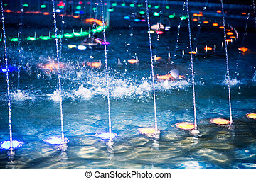 multi-coloré, soir, fontaine, illumination