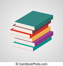 multi coloró, books., ilustración, vector, pila