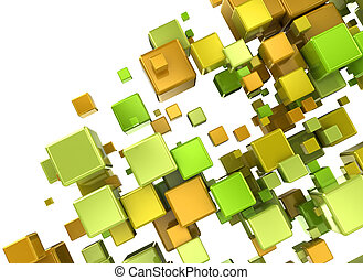 Multi color 3d cubes isolated on white background