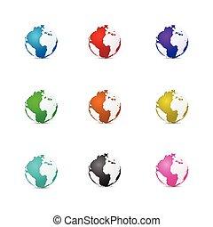 Multi-color 3D earth vector