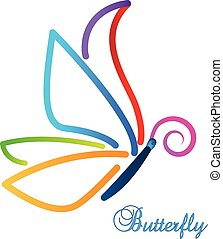 Multi-color abstract butterfly vector design illustration