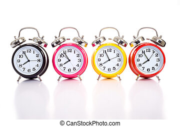 Multi-color clocks on white