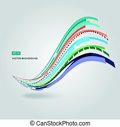 Multi-color curve line abstraction vector illustration on...