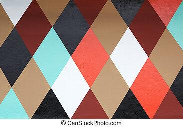 Multi-color diamond wall