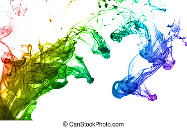Multi color ink isolated dissolving in water