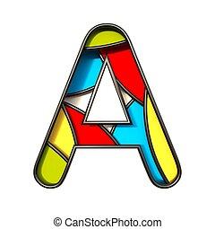 Multi color layers font Letter A 3D