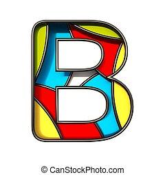 Multi color layers font Letter B 3D