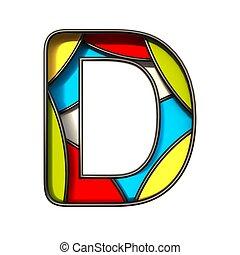 Multi color layers font Letter D 3D