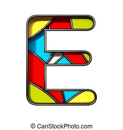Multi color layers font Letter E 3D