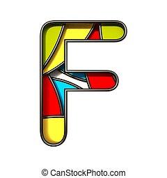 Multi color layers font Letter F 3D