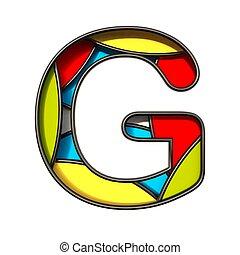 Multi color layers font Letter G 3D
