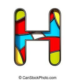 Multi color layers font Letter H 3D