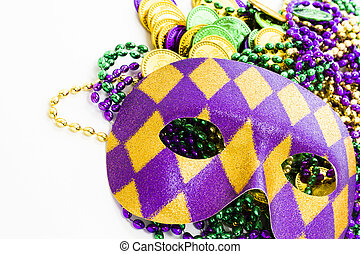 Mardi Gras - Multi color Mardi Gras beads, tokens and mask...
