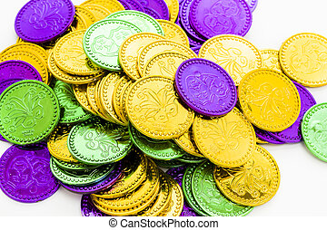 Mardi Gras - Multi color Mardi Gras tokens on white...