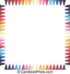 Multi color pastel(crayon) pencils border isolated on white...