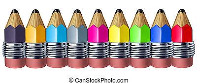 Multi color pencil border with mini pencils showing the...
