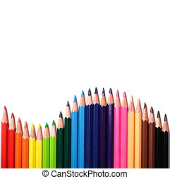Multi Color pencils on white background