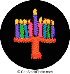 Multi-color pixel Hanukkah. From colorful circles. Jewish...