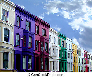 Multi color residental buildings in a row