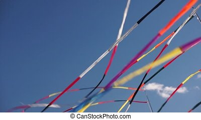 Multi color ribbon flags fluttering in the wind