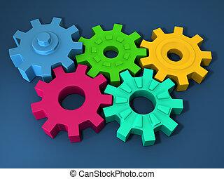 Multi color rubber gear 3d illustration